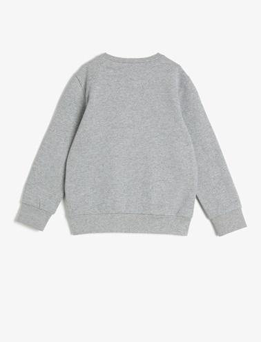 Koton Kids Yazılı Baskılı Sweatshirt Gri